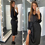 Шелковое платье миди под пояс с разрезом на ноге и длинным рукавом vN7978, фото 2