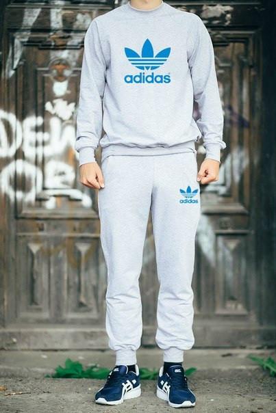 Мужской Спортивный костюм Adidas серый (с голубым принтом)