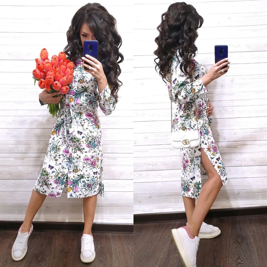 Летнее платье - рубашка миди в цветочный принт с разрезами по бокам vN7984