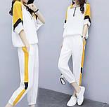 Женский белый спортивный костюм с желтыми вставками vN7995, фото 4