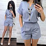 Женский льняной костюм с шортами и свободной футболкой vN7998, фото 2