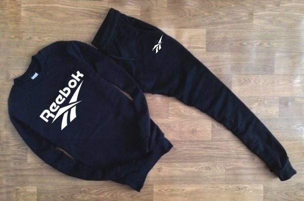 Мужской Спортивный костюм Reebok черный (с белым принтом)