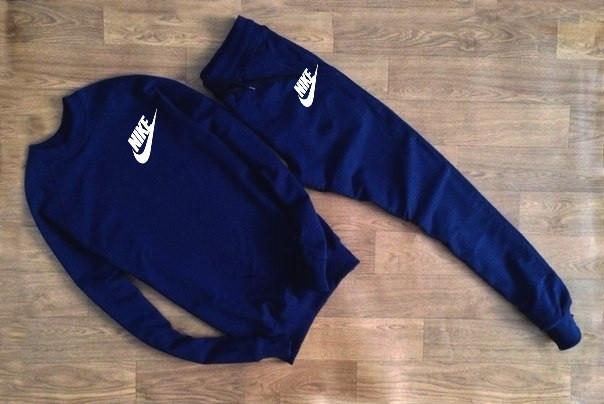 Мужской Спортивный костюм Nike т.синий (с маленьким принтом)