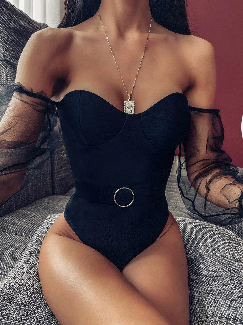 Женский закрытый черный купальник с шифоновыми рукавами vN8035