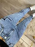 Женские джинсы МОМ с вышивкой Микки Маус и разрезом на штанине vN8038, фото 2