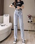 Женские голубые джинсы МОМ с вышивкой и завышенной талией vN8042, фото 3