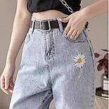 Женские голубые джинсы МОМ с вышивкой и завышенной талией vN8042, фото 4