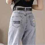 Женские голубые джинсы МОМ с вышивкой и завышенной талией vN8042, фото 5