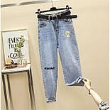 Женские голубые джинсы МОМ с вышивкой и завышенной талией vN8042, фото 6