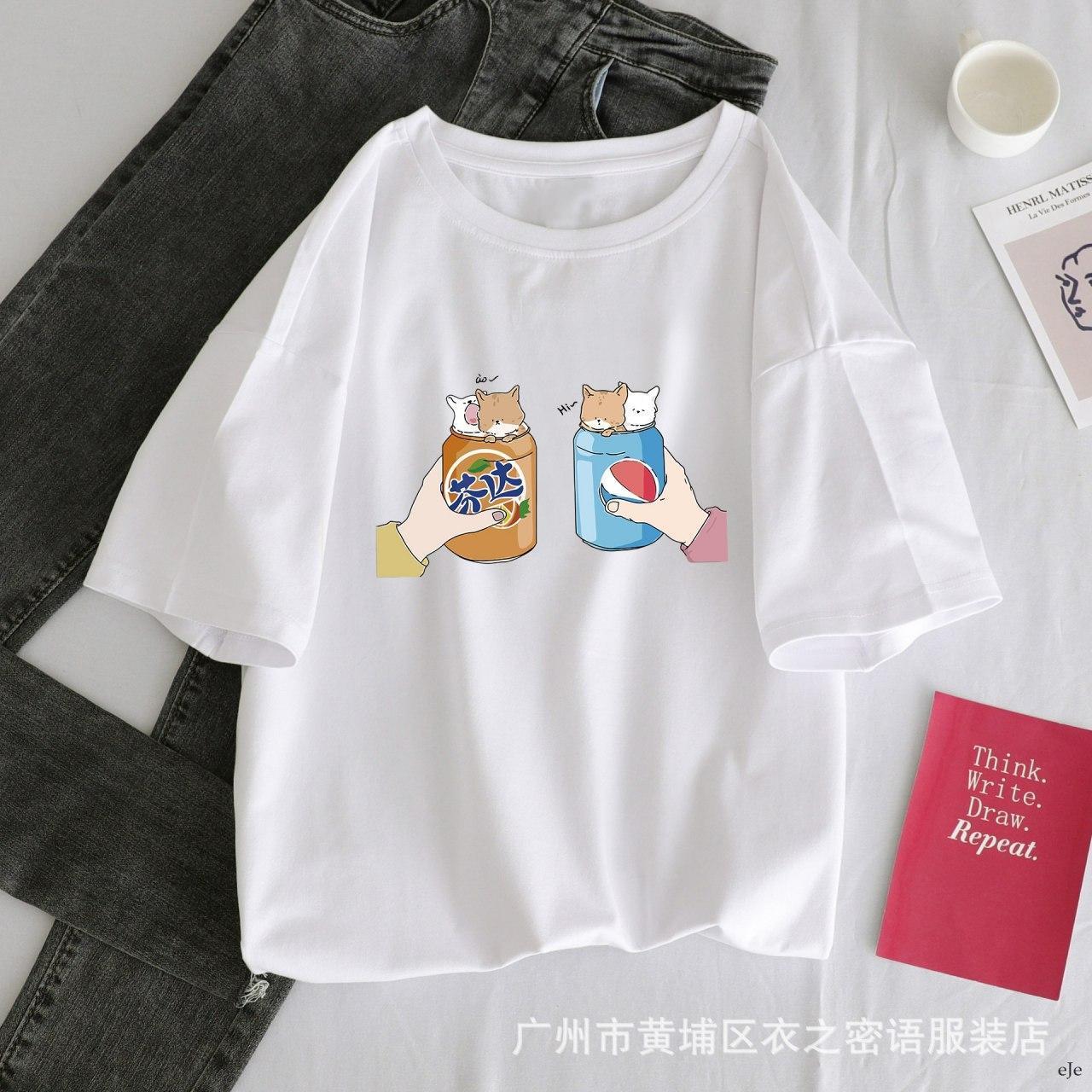 Женская белая футболка с рисунком пепси и фанта vN8056