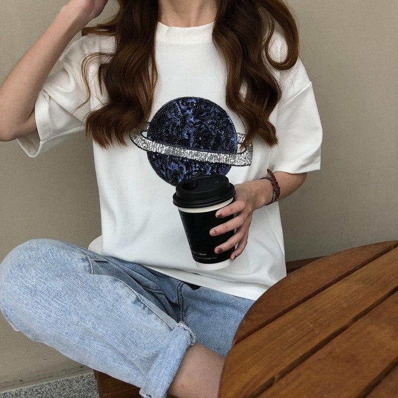 Женская свободная футболка оверсайз с рисунком планеты vN8061