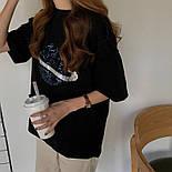 Женская свободная футболка оверсайз с рисунком планеты vN8061, фото 3