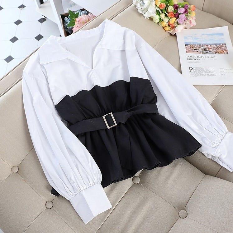 Женская блуза с имитацией двойки с поясом и длинным рукавом vN8073