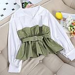 Женская блуза с имитацией двойки с поясом и длинным рукавом vN8073, фото 2