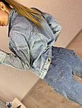 Женская джинсовая куртка голубого цвета со стразами на рукавах vN8076, фото 2
