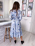 Летнее платье рубашка с расклешенной юбкой миди и оборками vN8078, фото 2