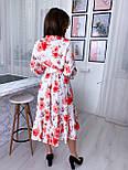 Летнее платье рубашка с расклешенной юбкой миди и оборками vN8078, фото 3