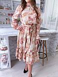 Летнее платье рубашка с расклешенной юбкой миди и оборками vN8078, фото 4