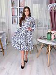 Летнее платье рубашка с расклешенной юбкой миди и оборками vN8078, фото 5