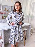 Летнее платье рубашка с расклешенной юбкой миди и оборками vN8078, фото 6