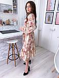 Летнее платье рубашка с расклешенной юбкой миди и оборками vN8078, фото 7