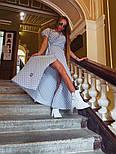 Длинное летнее платье в горошек на запах с коротким рукавом vN8081, фото 4