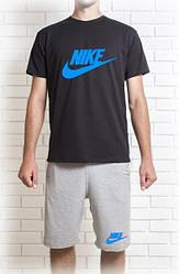 Мужской летний комплект Nike с принтом (шорты + футболка)