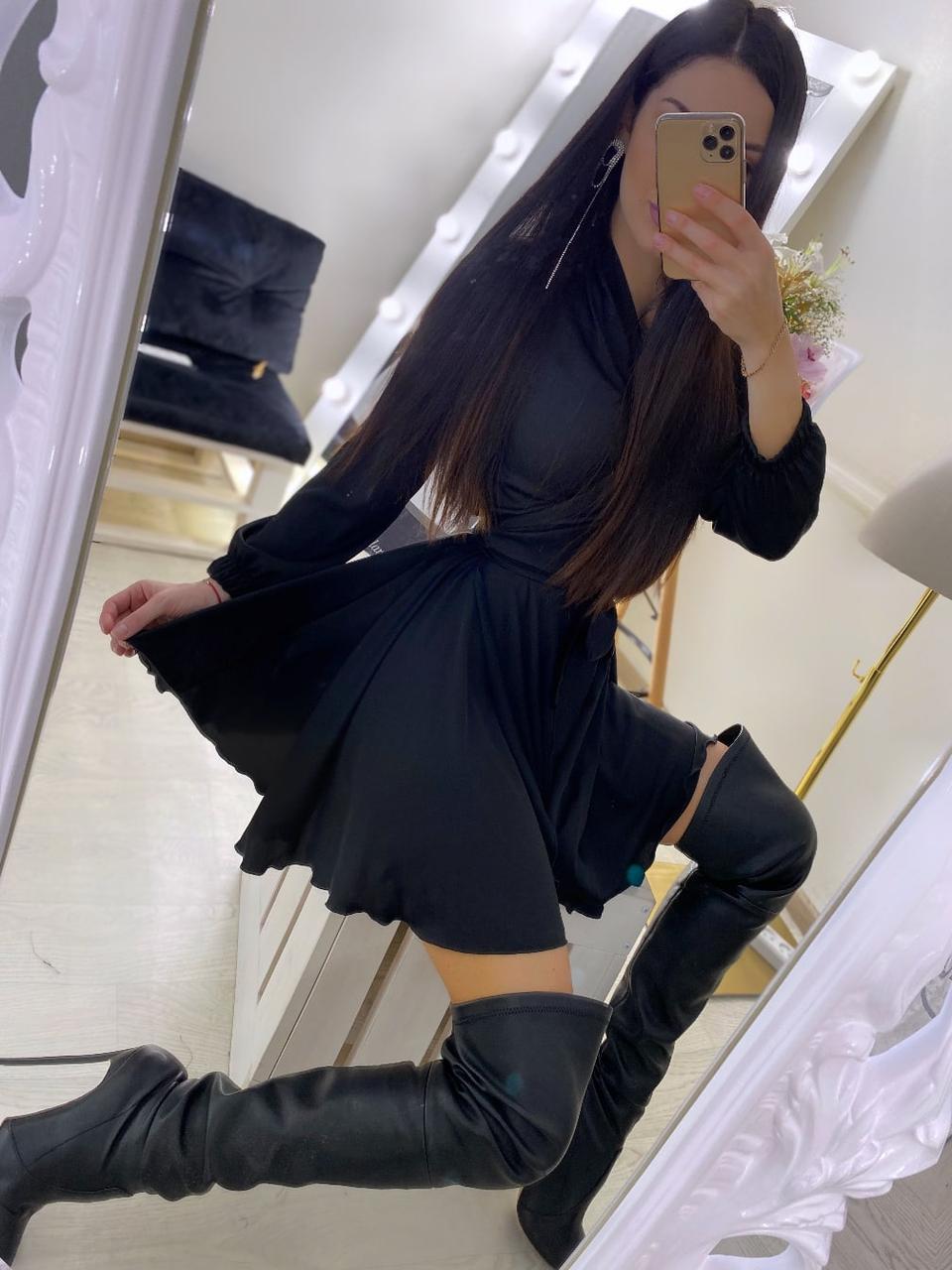Шелковое платье на запах с длинными рукавами и поясом vN8091
