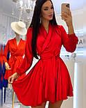 Шелковое платье на запах с длинными рукавами и поясом vN8091, фото 2
