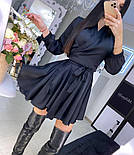Шелковое платье на запах с длинными рукавами и поясом vN8091, фото 3