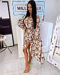 Летнее принтованное асимметричное платье с рубашечным верхом и длинным рукавом vN8092, фото 2
