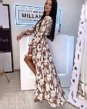 Летнее принтованное асимметричное платье с рубашечным верхом и длинным рукавом vN8092, фото 4