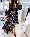 Летнее принтованное асимметричное платье с рубашечным верхом и длинным рукавом vN8092, фото 5