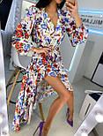 Летнее принтованное асимметричное платье с рубашечным верхом и длинным рукавом vN8092, фото 6