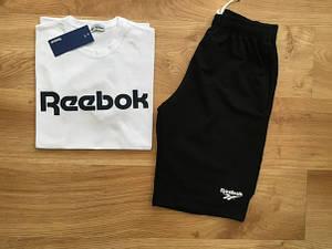Мужской летний комплект Reebok (шорты + футболка) белый с черным