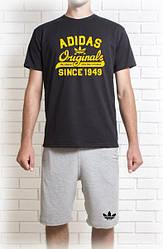Мужской летний комплект Adidas Original с желтым принтом (шорты + футболка)