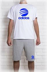 Мужской летний комплект Adidas с синим принтом (шорты + футболка)