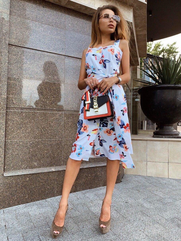 Женский коттоновый сарафан в цветочный принт с поясом и карманами vN8103
