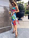 Женский коттоновый сарафан в цветочный принт с поясом и карманами vN8103, фото 4