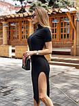 Черное платье облегающее с высоким горлом, коротким рукавом и разрезом на ноге vN8104, фото 2