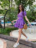 Летнее платье в горошек с декольте и оборками на юбке vN8106, фото 3