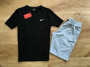 Мужской летний комплект Nike маленький лого (шорты + футболка)