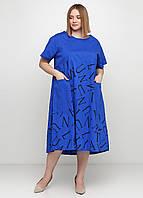 Синее платье а-силуэт Made in Italy с надписью 2Xl-3XL