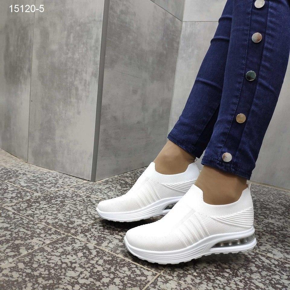 Женские белые  кроссовки мокасины текстильные, АОВ 15120-5