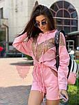 Женский летний костюм с шортами кофтой в пайетку vN8144, фото 2