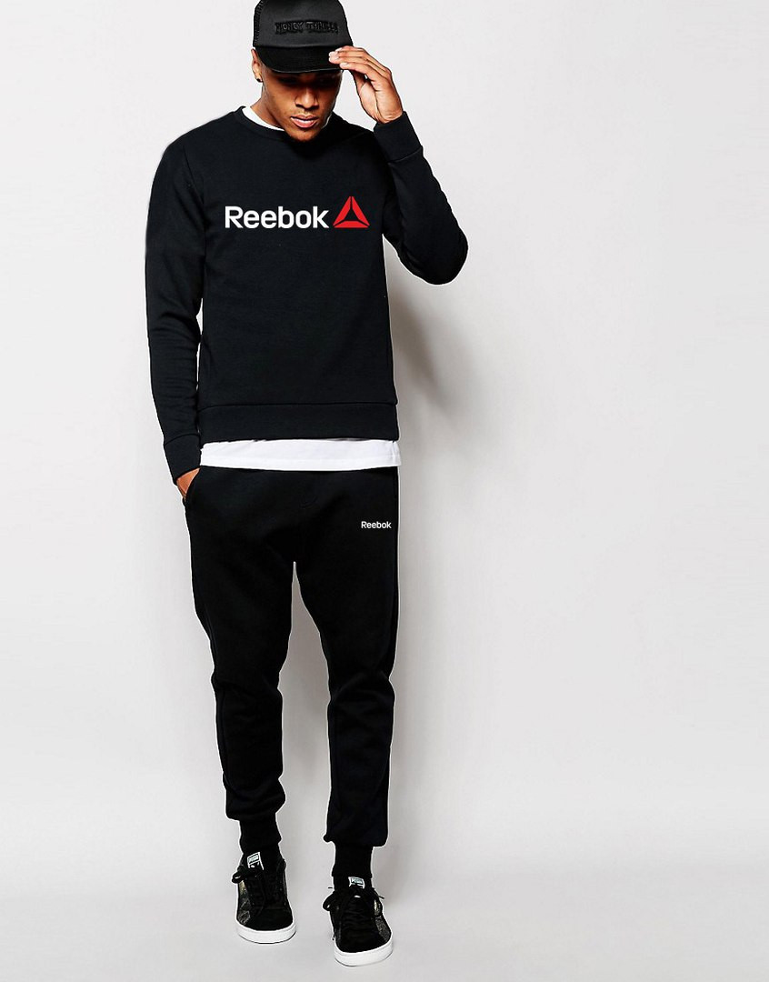 Чоловічий Спортивний костюм Reebok чорний (білий принт)