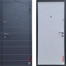 Дверь входная металлическая ZIMEN Line, Base, Fuaro, Антрацит / Белая шагрень, 950х2050, левая
