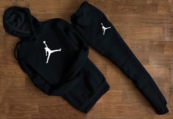 Чоловічий Спортивний костюм Jordan c капюшоном (білий великий принт)