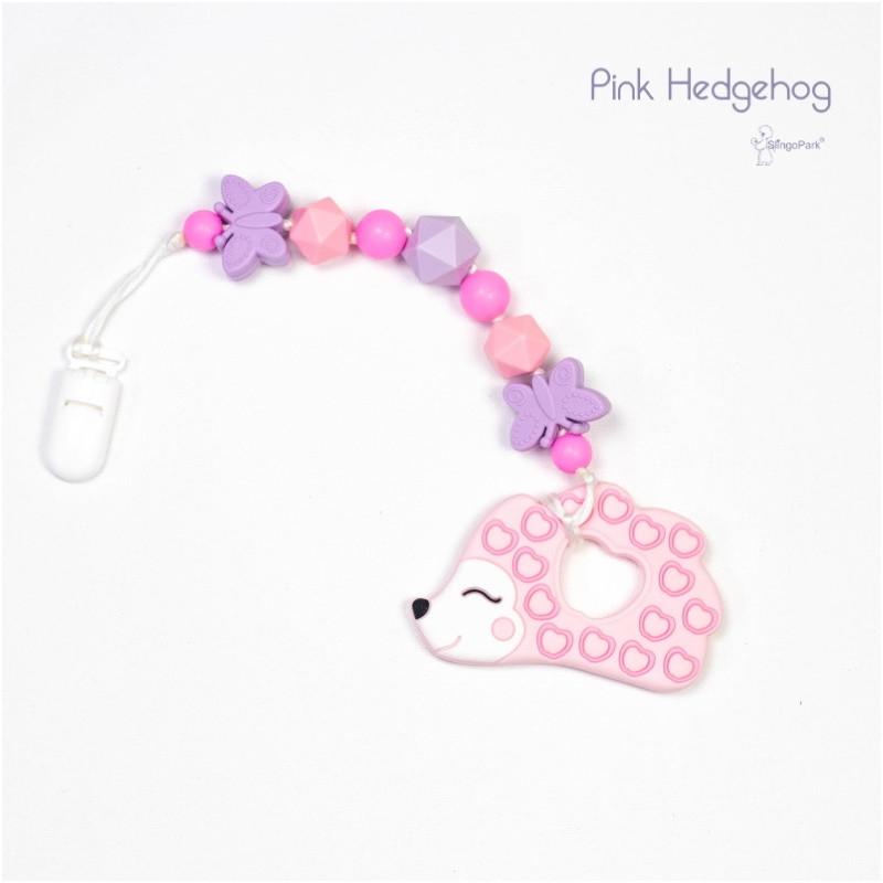 Силиконовый грызунок с держателем BABY MILK TEETH Pink Hedgehog