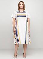 Белое платье а-силуэт Made in Italy в полоску, 2XL-3XL